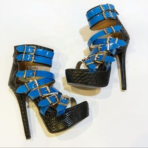 "SCENE By Shoedazzle ""Abrea"" Dragon Blue Heels"